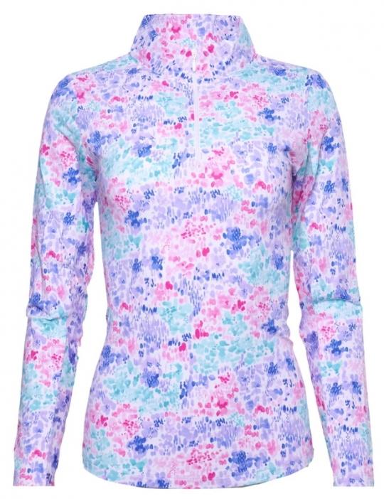 Ibkul Womens Annie Floral Print Long Sleeve Mock Sports & Fitness