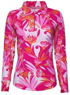 afcca75060e Ibkul Ladies   Plus Size Caroline Print Long Sleeve Polo Golf Sun Shirts -  Pink Combo