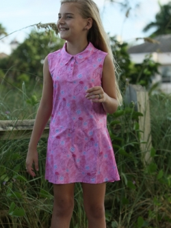 Turtles & Tees Junior Girls Golf/Tennis Adriene Sleeveless Dresses - Pink Jammin on Par Print