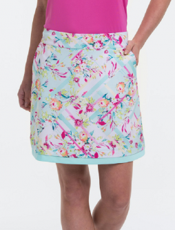 "EP New York Ladies & Plus Size 19"" Floral Print Pull On Golf Skorts - TO DYE FOR (Swimming Multi)"