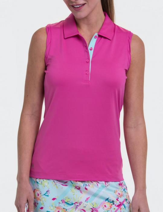 EP New York Ladies & Plus Size Sleeveless Golf Polo Shirts - TO DYE FOR (Totally Pink)