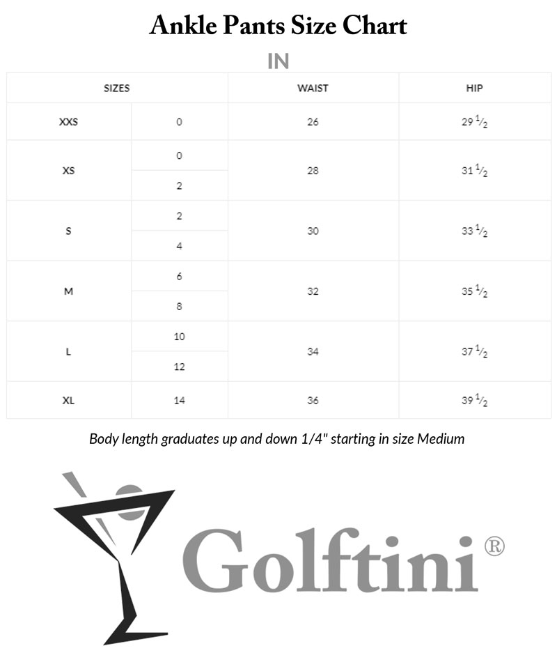 Golftini Ankle Pants Sizing Charts