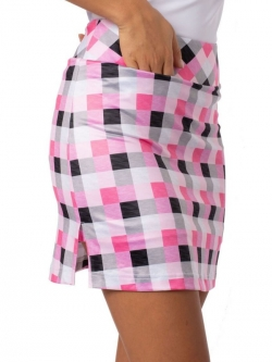 "Golftini Ladies & Plus Size Neapolitan 18"" Plaid Pull On Stretch Golf Skorts - Multi-Color"