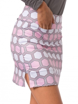 Golftini Ladies & Plus Size Strawberry Shortcake Pull On Stretch Golf Skorts - Light Pink/White