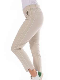 Golftini Ladies Pull On Stretch Ankle Golf Pants - Khaki with White Piping