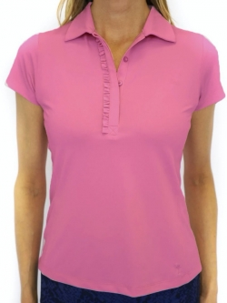 Golftini Ladies & Plus Size Short Sleeve Ruffle Stretch Golf Shirts - Assorted Colors