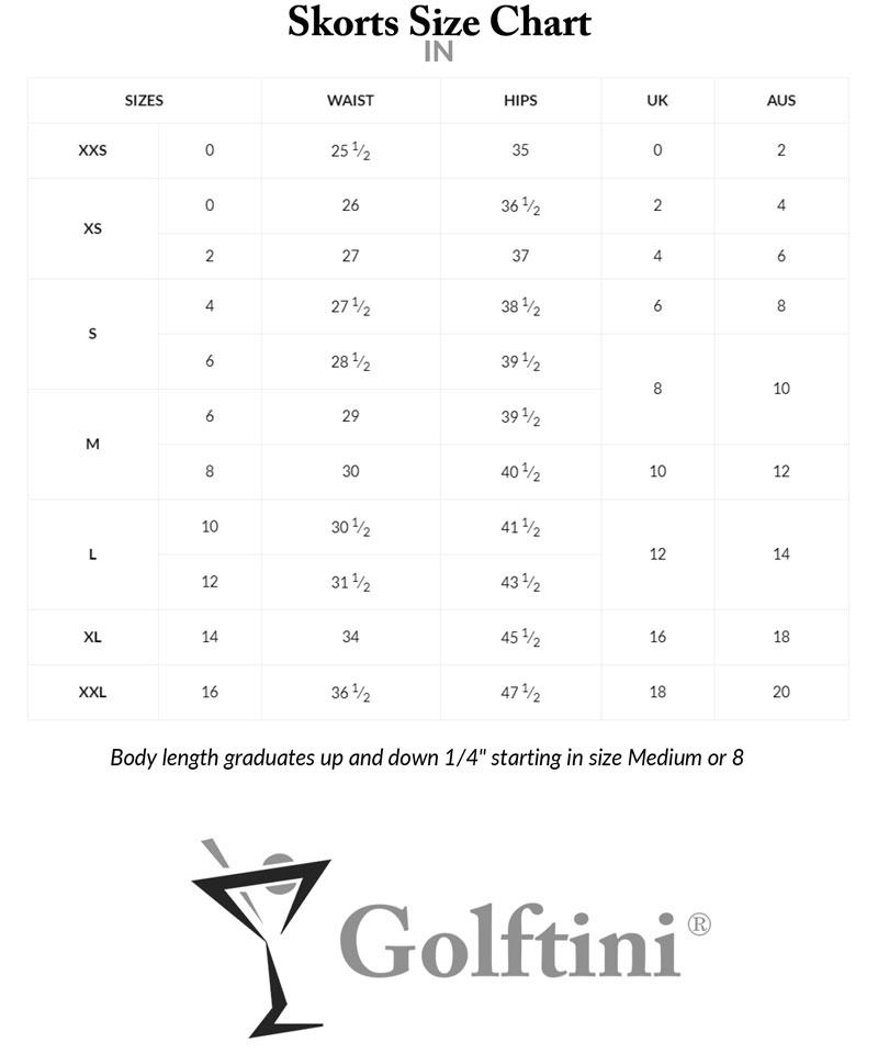 Golftini Skorts Sizing Charts