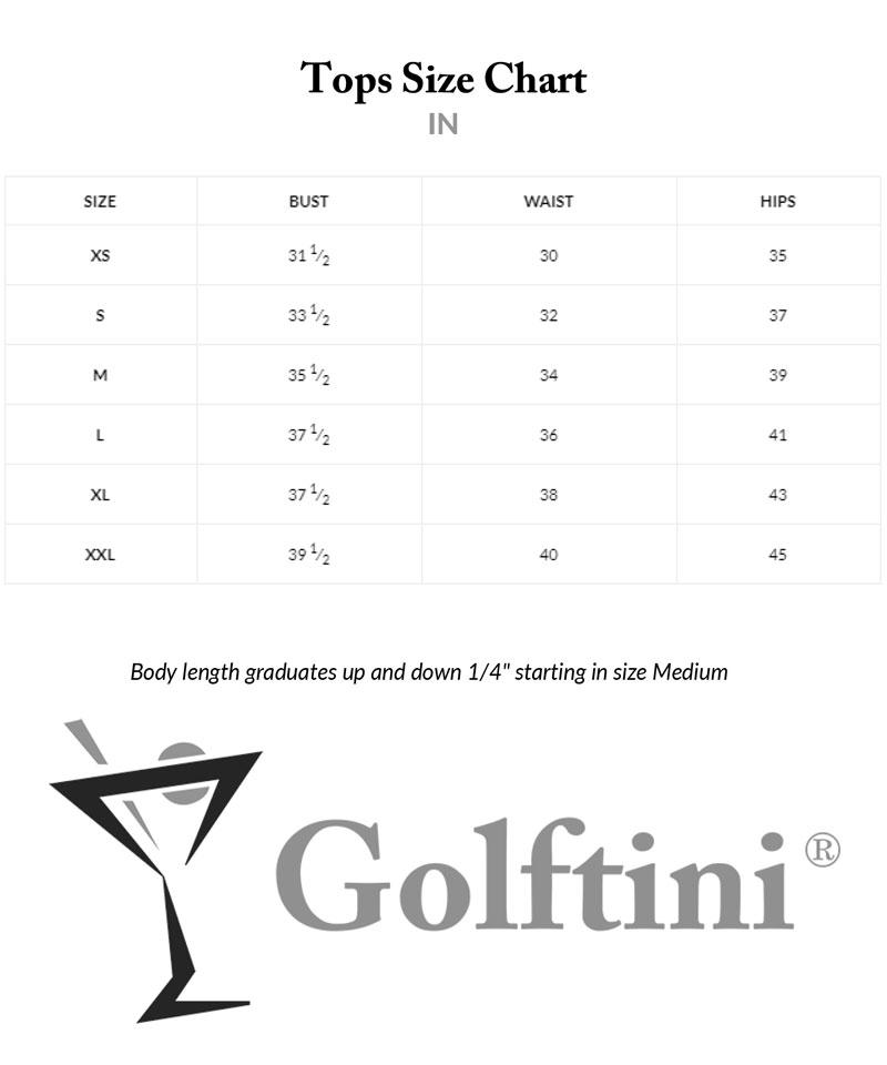 Golftini Tops Sizing Charts