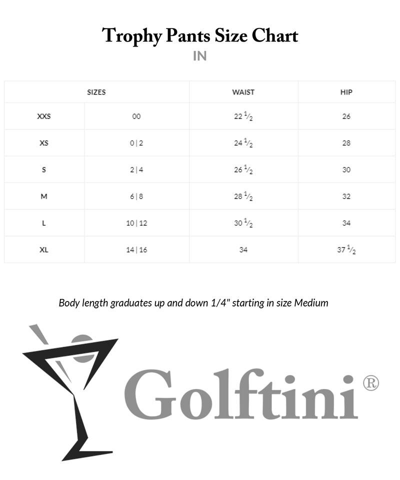 Golftini Trophy Pants Sizing Charts