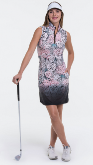 EP New York Ladies & Plus Size S/L Palm Frond Ombre Print Golf Dress - CARGO CHIC (Black Multi)