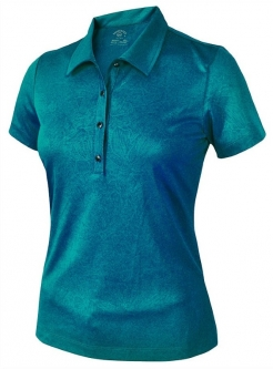 SALE Monterey Club Ladies & Plus Size Floral Emboss Short Sleeve Golf Polo Shirts - Assorted