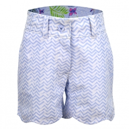 Turtles & Tees Junior Girls Lucy Pull On Golf Shorts - Swinging on a Wave (Blue)