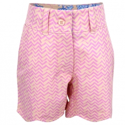 Turtles & Tees Junior Girls Lucy Pull On Golf Shorts - Swinging on a Wave (Pink)