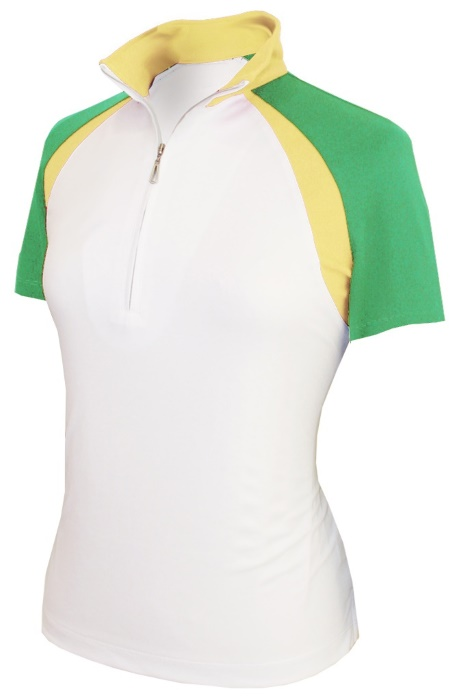 ec0bc12b319 Monterey Club Ladies   Plus Size Double Colorblock Stand-up Collar Short  Sleeve Golf Shirts - Assort