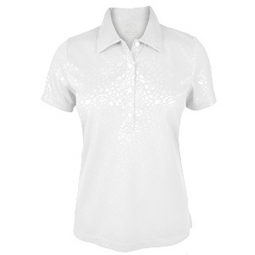 SPECIAL Monterey Club Ladies Knit Dry Swing Artsy Animal Emboss Golf Shirts - White
