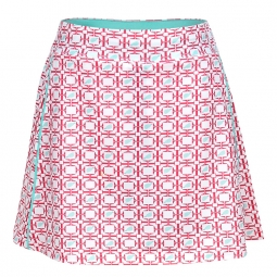 Turtles & Tees Junior Girls Tara Golf Skorts - Salmon/Tee's Squared Print