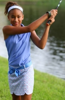Turtles & Tees Junior Girls Victoria Golf Skorts - Periwinkle Tee's Squared