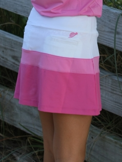 Turtles & Tees Junior Girls Golf/Tennis Ayla Colorblock Skorts - Pink White