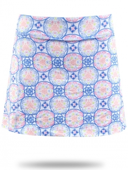 Turtles & Tees Junior Girls Golf/Tennis Josie Knit Pleated Back Skorts - Blue Medalion Print