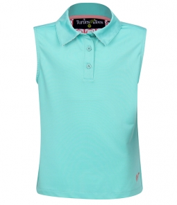 Turtles & Tees Junior Girls Sleeveless Golf Polo Shirts - Jade/Tee's Squared Salmon