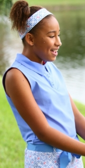 Turtles & Tees Junior Girls Sleeveless Golf Polo Shirts - Periwinkle/Periwinkle Tee's Squared