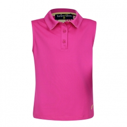 Turtles & Tees Junior Girls Sleeveless Polo Golf Shirts - Pink with Take a Swing Print