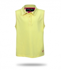 Turtles & Tees Junior Girls Sleeveless Polo Golf Shirts - Yellow with Take A Swing Print