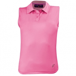 Turtles & Tees Junior Girls Sleeveless Golf Polo Shirts - Hot Dotty (Pink)