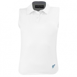 Turtles & Tees Junior Girls Sleeveless Golf Polo Shirts - Swinging on a Wave (White)