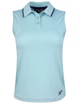 Turtles & Tees Junior Girls Sleeveless Golf/Tennis Polo Shirts - Turtles On Course (Turquoise)