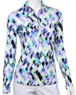 EP New York Ladies Long Sleeve Golf Polo Sunshirts - CLUB MED (Lilac Mist Multi)