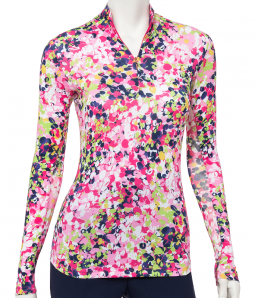 CLEARANCE EP New York Ladies L/S Print Mock Golf Sun Shirts - SOLEIL (Fruit Punch Multi)