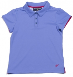 Turtles & Tees Junior Girls Cap Sleeve Golf Polo Shirts - Periwinkle/Periwinkle Tee's Squared