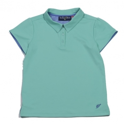 Turtles & Tees Junior Girls Cap Sleeve Golf Polo Shirts - Seafoam/All Knotted Up