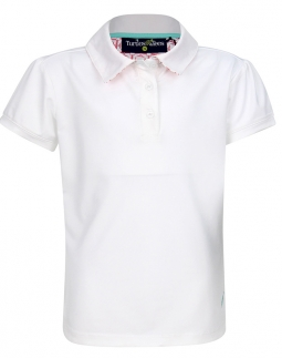 Turtles & Tees Junior Girls Cap Sleeve Polo Golf Shirts - White/Tee's Squared Salmon