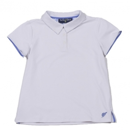 Turtles & Tees Junior Girls Cap Sleeve Golf Polo Shirts - White/Periwinkle Tee's Squared