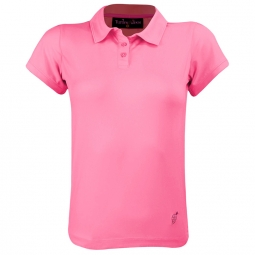 Turtles & Tees Junior Girls Cap Sleeve Golf Polo Shirts - Hot Dotty (Pink)