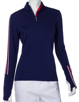 SALE EP New York Ladies Long Sleeve Zip Mock Pullover Golf Shirts - GRAPHIC JAM (Inky Multi)