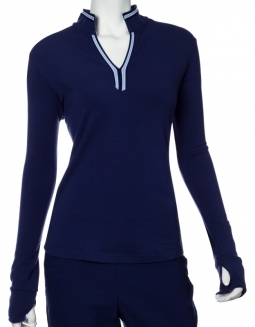 SALE EP New York Ladies Long Sleeve Stretch Golf Shirts - LUXOR (Inky Multi)