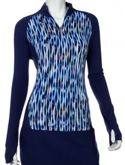 CLEARANCE EP New York Ladies & Plus Size L/S Striated Feather Print Golf Shirts - LUXOR (Inky Multi)