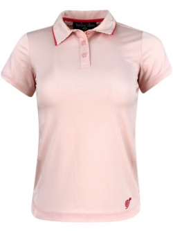 Turtles & Tees Junior Girls Cap Sleeve Golf/Tennis Polo Shirts - Turtle Stripes (Pale Pink)
