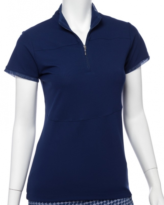 SPECIAL EP New York Ladies Cap Sleeve Zip Mock Golf Shirts - SILVER STREAK (Inky)