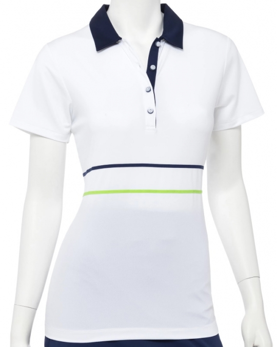 CLEARANCE EP New York Ladies & Plus Size Short Sleeve Golf Polo Shirts -  GOOD SPORT (White Multi)
