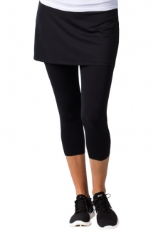 SanSoleil Ladies SolCool Golf Skort with Capri Leggings - Black