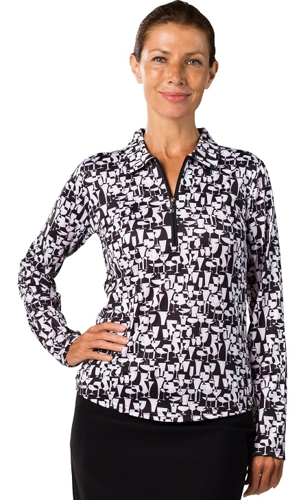 0865c0327a674 SanSoleil Ladies SolCool Zip Long Sleeve Golf Polo Shirts - Last Call Black