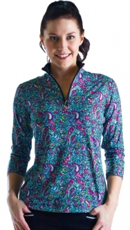 SanSoleil Ladies & Plus Size SolCool ¾ Sleeve Zip Mock Golf Shirts - Passion Paisley
