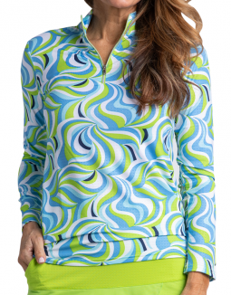 Bette & Court Ladies Groovy L/S Mock Golf Sun Shirts - SOMEDAY MY PRINTS WILL COME (Lime)