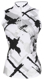 Bette & Court Ladies and Plus Size CE Foil Plaid Sleeveless Golf Shirts - COOL ELEMENTS (White)