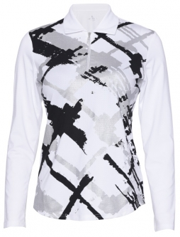Bette & Court Ladies and Plus Size CE Foil Plaid Long Sleeve Golf Polo Shirts- COOL ELEMENTS (White)