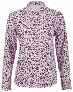 Bette & Court Ladies and Plus Size CE Paisley L/S Golf Polo Shirts - Lookin' Berry Good (Wildberry)
